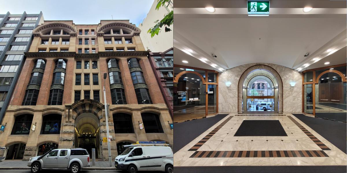 Photos of the exterior and lobby of 83 York Street, Sydney.